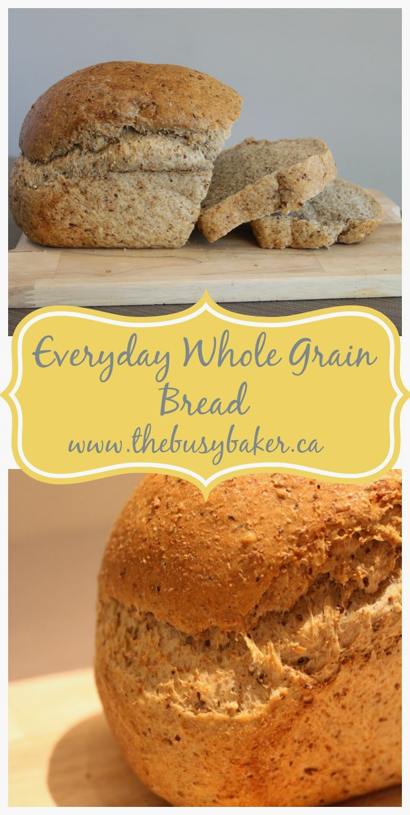 This Everyday Whole Grain Bread is a rustic-looking loaf, full of whole grain goodness and it doesn't contain any of the preservatives or stabilizers that commercial breads do! via @busybakerblog