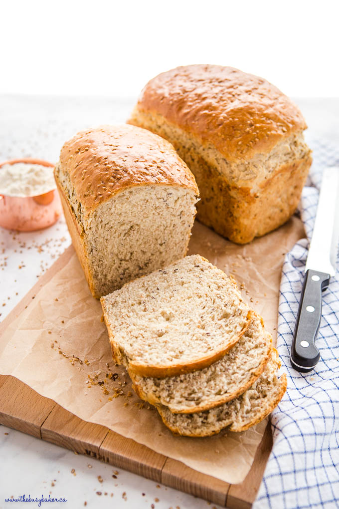 whole grain bread on cutting board