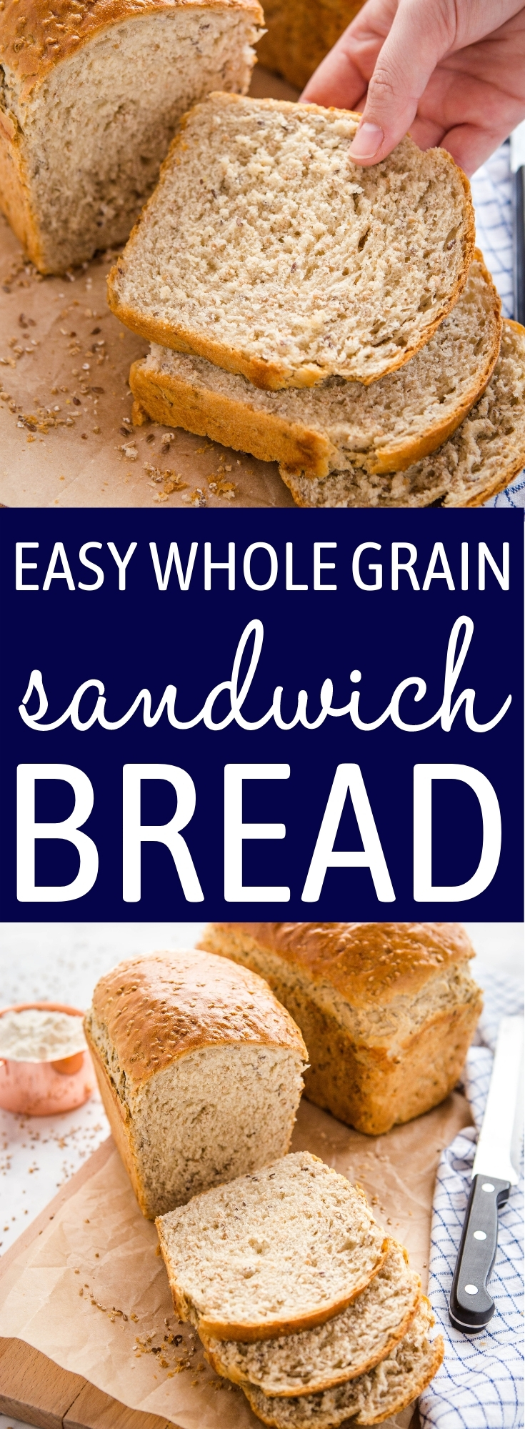 This Easy Whole Grain Sandwich Bread is a rustic-looking sandwich loaf that's perfectly soft and fluffy, full of fibre and whole grain goodness and perfect for school lunches or serving with your favourite soups or stews. Recipe from thebusybaker.ca! #wholegrains #wholegrainbread #healthy #sandwich #schoollunch #homemade #bread via @busybakerblog