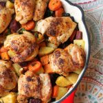 Paprika Chicken Thighs with Roasted Root Vegetables and Kale