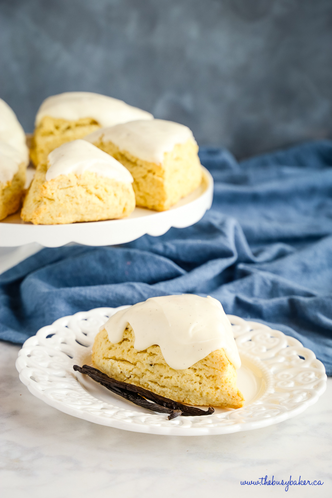 Best Ever Vanilla Bean Scones on white lace plate