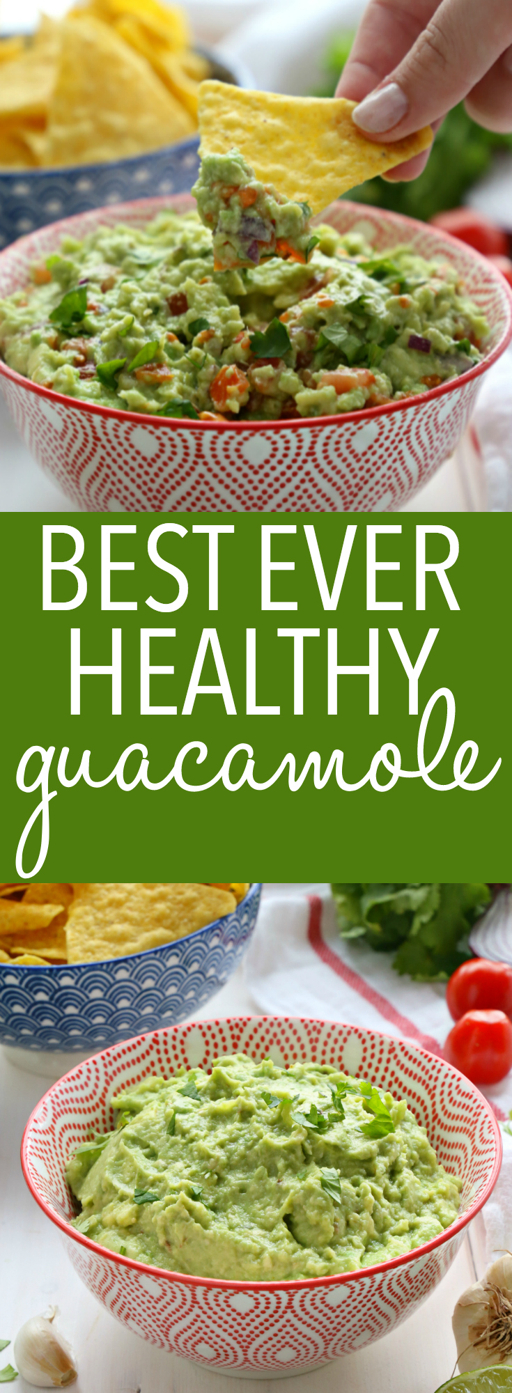 This Best Ever Healthy Guacamole is truly the best guacamole you'll ever taste, and it's packed with fresh, healthy ingredients! Make it in just minutes! Recipe from thebusybaker.ca! #easyguacamole #healthyguacamole #healthydiprecipe