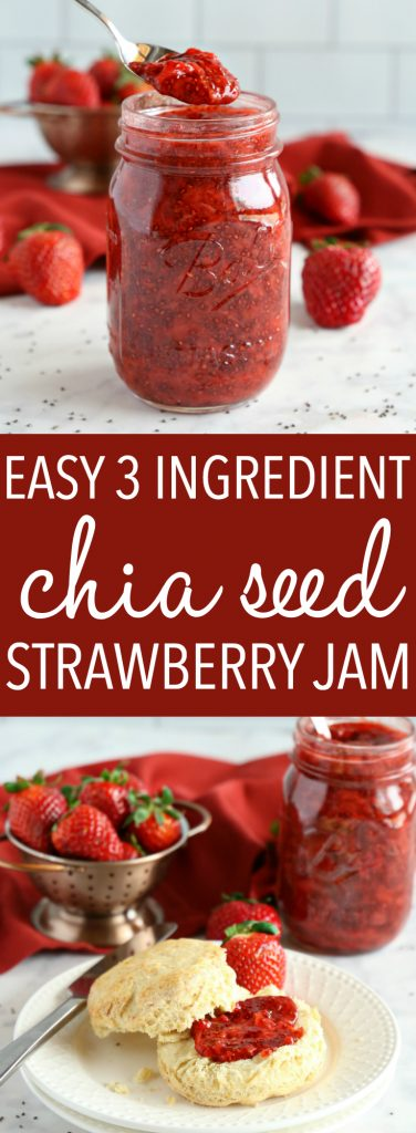 This Easy 3-Ingredient Strawberry Chia Seed Jam is the perfect healthy alternative to conventional jam! It's made with 3 healthy, natural, whole-food ingredients and it's quick and easy to make! Recipe from thebusybaker.ca! #healthyjam #chiaseedjam #homemadestrawberryjam