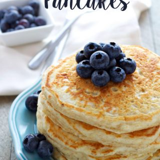 healthy buttermilk pancakes with fresh blueberries