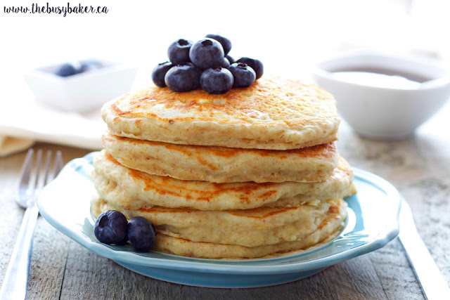 plate of healthy buttermilk pancakes