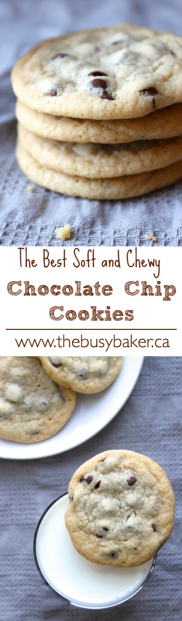 These Chewy Chocolate Chip Cookies are soft and chewy on the inside and crispy on the outside - the PERFECT chocolate chip cookies with pro tips! Recipe from thebusybaker.ca #perfectchocolatechipcookies #chewychocolatechipcookies via @busybakerblog