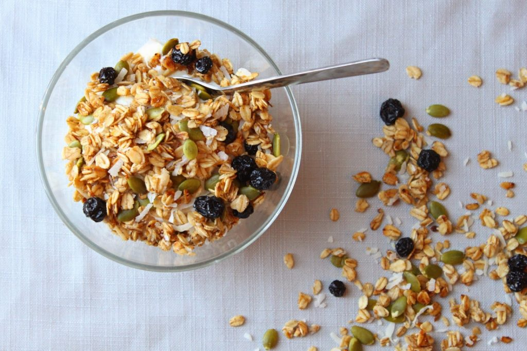 crunchy granola with pumpkin seeds and coconut