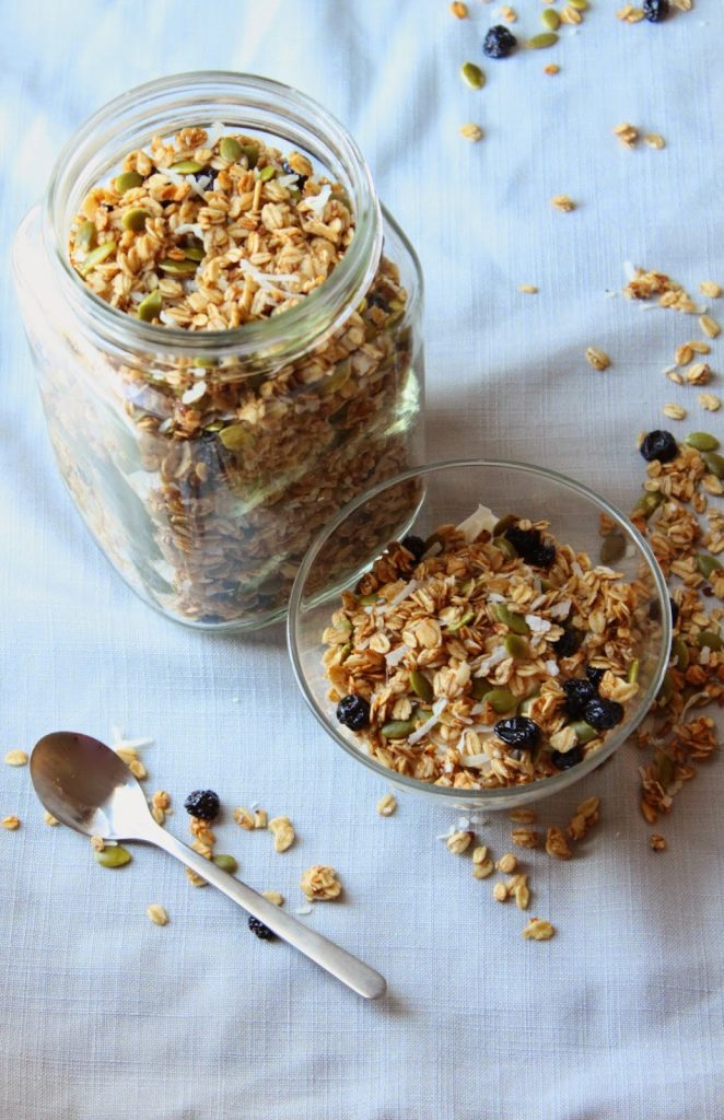 crunchy pumpkin seed granola in a mason jar