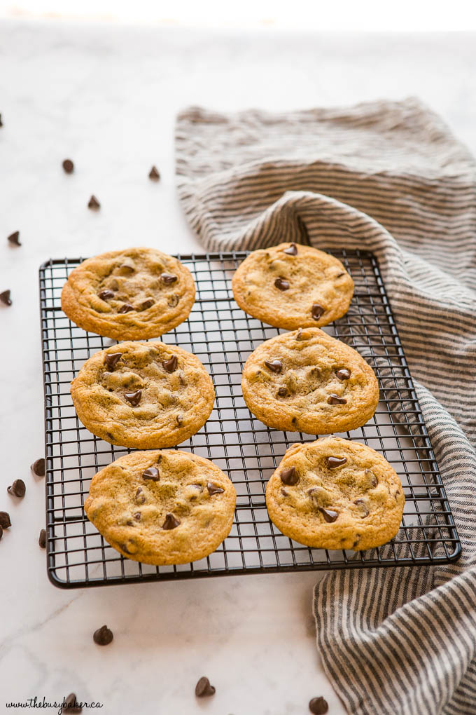 chocolate chip cookies on a black cooling rack