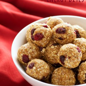 a bowl of cranberry cashew energy bites