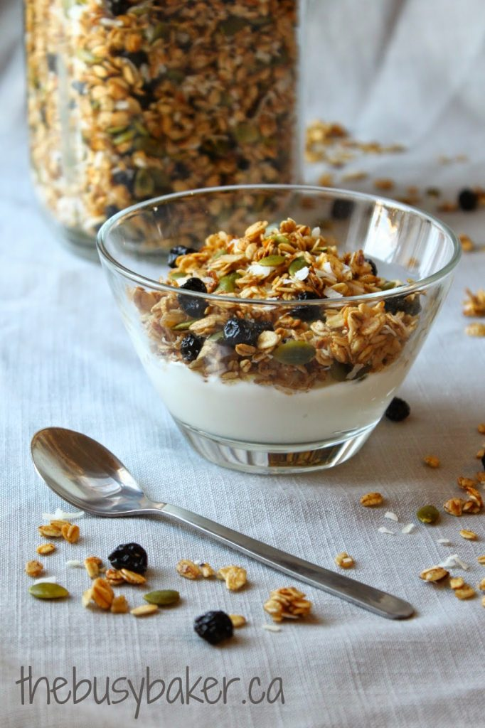 pumpkin seed granola in a cereal bowl