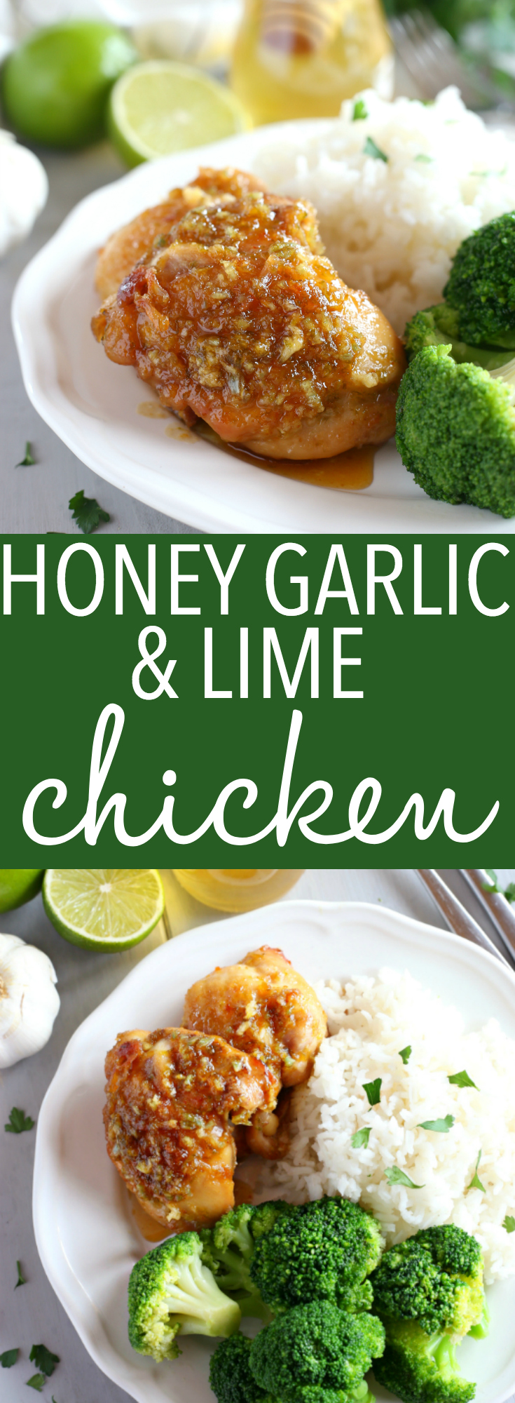 This Honey Garlic Lime Chicken is an easy weeknight meal recipe featuring tender chicken thighs cooked in a sweet lime and garlic sauce! Just a few simple ingredients and you're on your way to a delicious family meal that's so easy to make! Recipe from thebusybaker.ca! #easyhoneygarlicchicken #easychickenrecipe #honeygarlicsauce via @busybakerblog