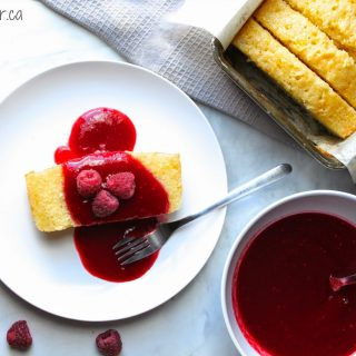 Lemon Pound Cake with Raspberry Coulis
