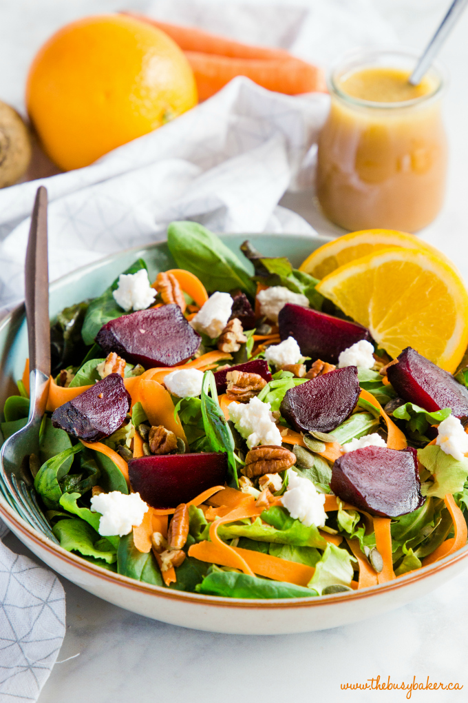 Roasted Beet Salad with Goat Cheese and Orange Vinaigrette