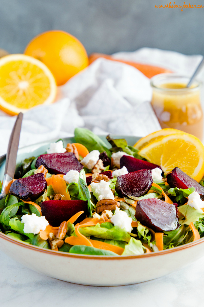 Roasted Beet Salad with Goat Cheese and Orange Balsamic Vinaigrette