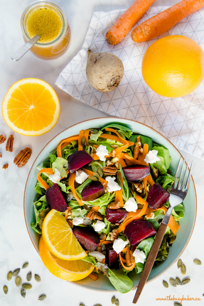 fall harvest salad with roasted beets, goat cheese, and orange vinaigrette dressing