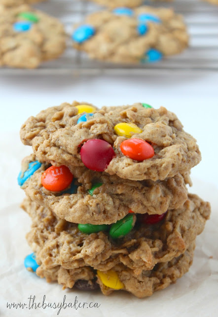 a stack of homemade Monster Cookies