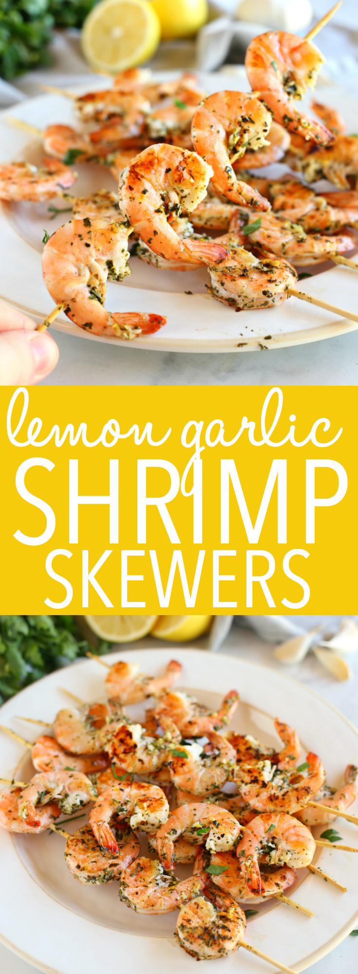 These Lemon Garlic Grilled Shrimp Skewers make the perfect addition to any healthy meal! Marinated in fresh garlic, lemon, and white wine, these grilled shrimp are perfect for summer barbecues or grilled indoors any time of year! Recipe from thebusybaker.ca! #shrimpskewers #lemongarlicshrimp #easyshrimprecipe #healthyshrimprecipe via @busybakerblog