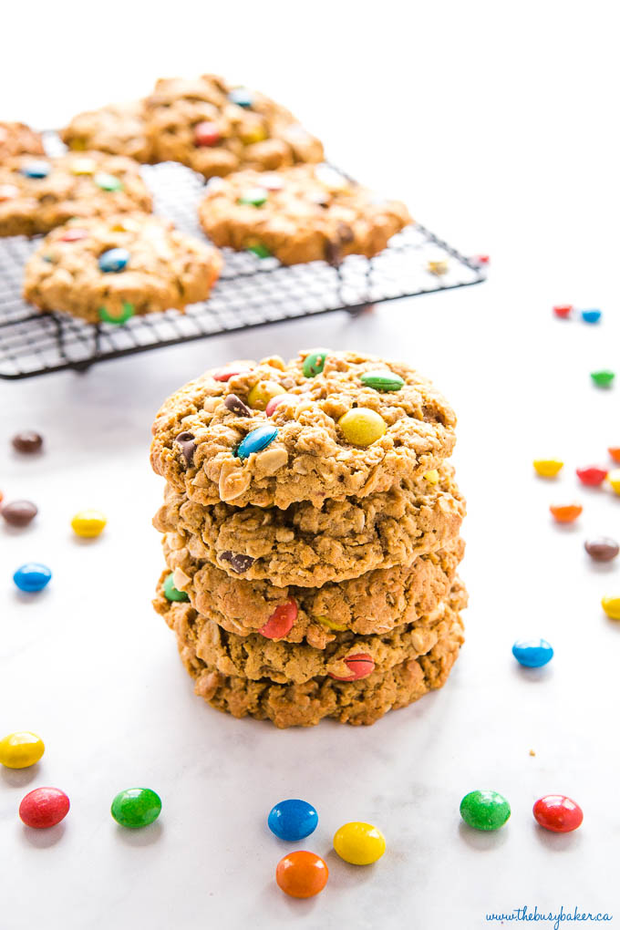 stack of monster cookies with coloured candy coated chocolate