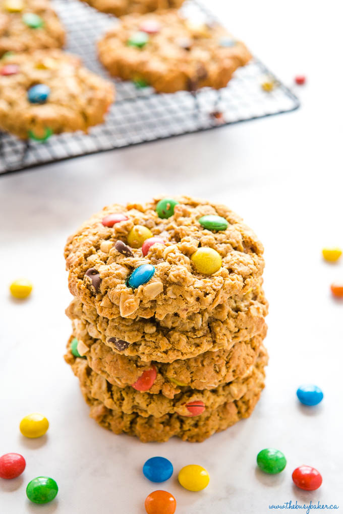 stack of monster cookies with colourful m&ms