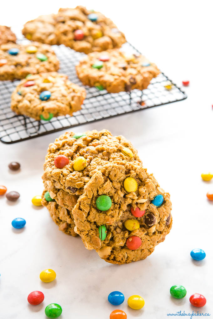 small stack of monster cookies with m&ms