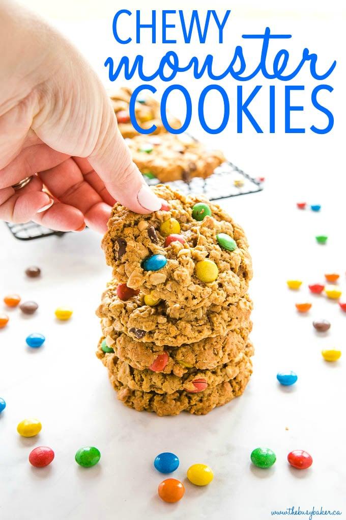 a batch of homemade Monster Cookies
