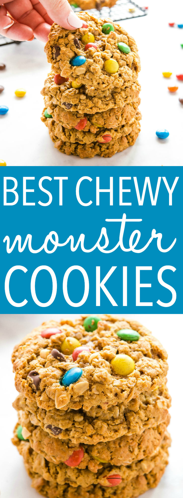 This is the perfect cookie recipe to make when you need a sweet treat! Monster Cookies are soft and chewy peanut butter oatmeal cookies studded with M&Ms. Recipe from thebusybaker.ca! #monstercookies #m&ms #candy #cookies #homemade #backtoschool #afterschoolsnack #snack #kidfriendly via @busybakerblog