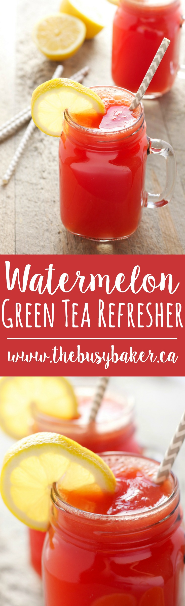 This Watermelon Green Tea Refresher drink is a delicious healthy alcohol-free cocktail, featuring fresh watermelon, lemon, and green tea! Recipe from thebusybaker.ca! via @busybakerblog