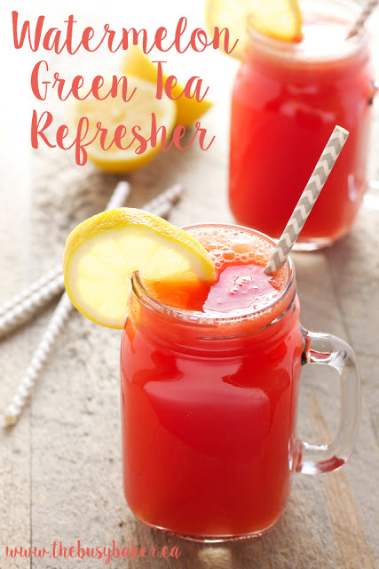 This Watermelon Green Tea Refresher drink is a delicious healthy alcohol-free cocktail, featuring fresh watermelon, lemon, and green tea! Recipe from thebusybaker.ca!