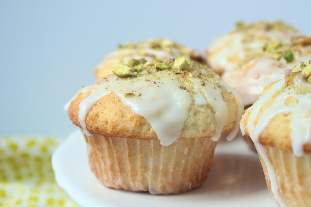 close up image of homemade lemon pistachio muffins