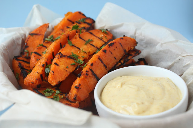 grilled homemade sweet potato fries