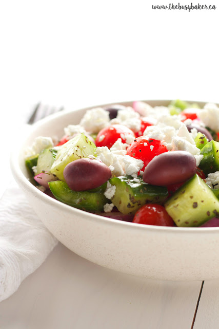 Greek salad with feta cheese, cucumber, tomatoes and Kalamata olives