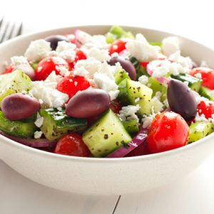simple Greek salad in a bowl
