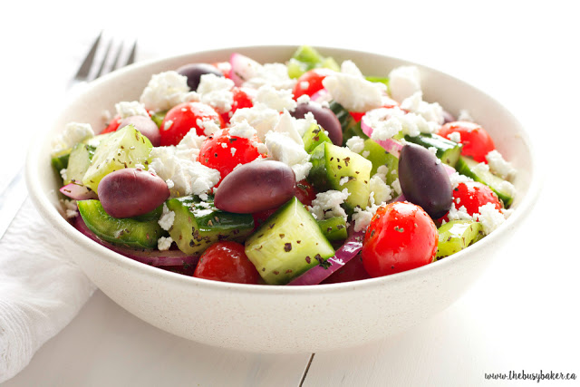 simple Greek salad in a white bowl