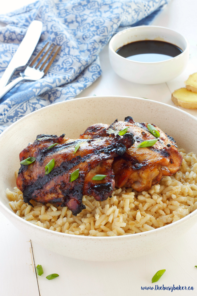 Ginger Soy Grilled Chicken thighs on a bed of fluffy brown rice