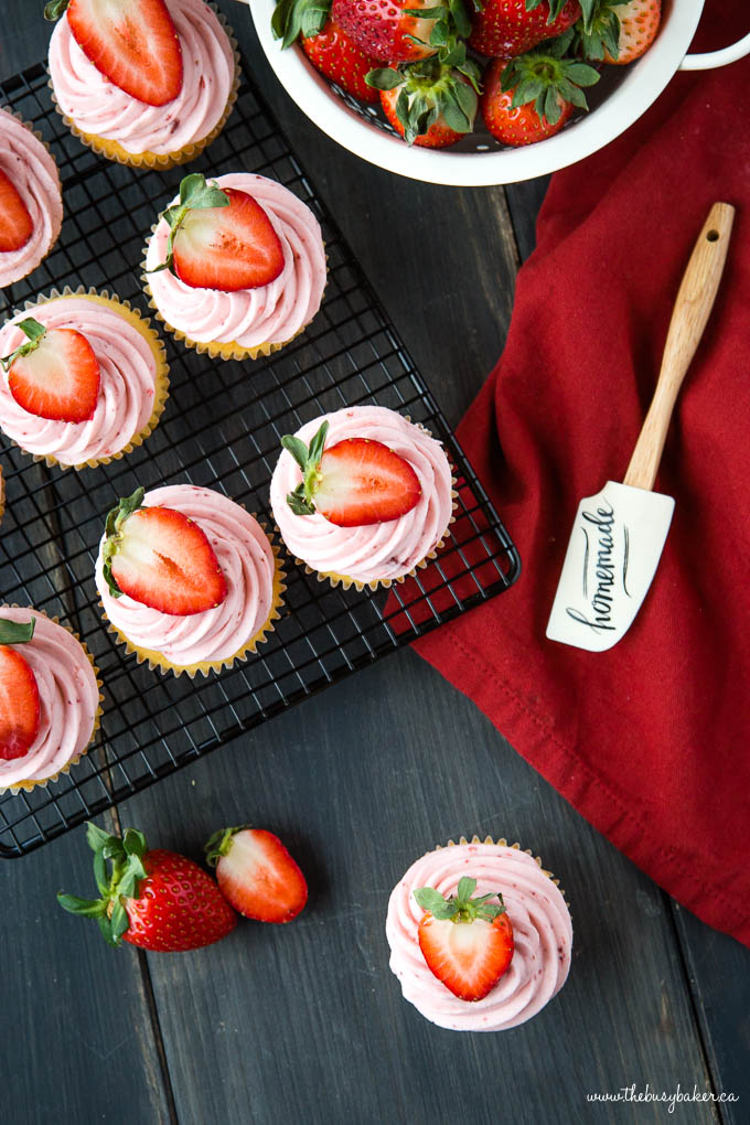 fresh strawberry cupcakes with strawberries