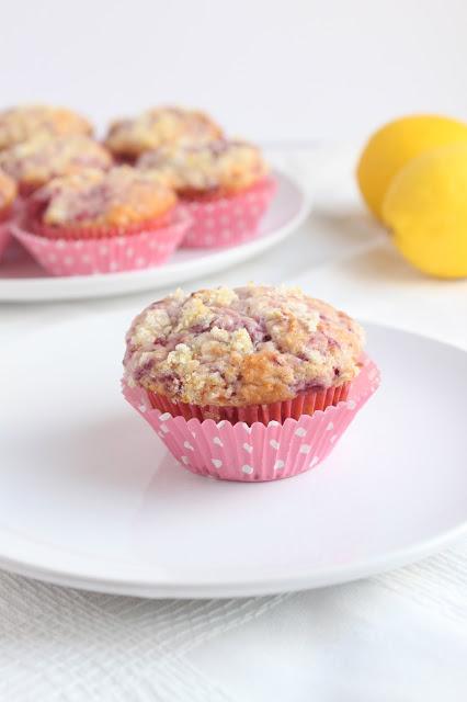 a raspberry lemonade muffin on a white plate