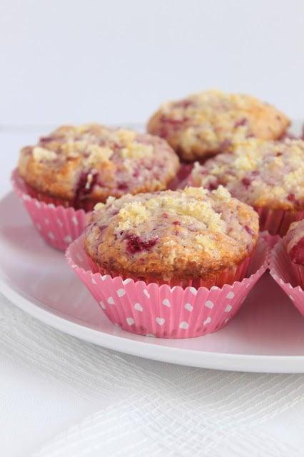 plate of baked raspberry lemonade muffins