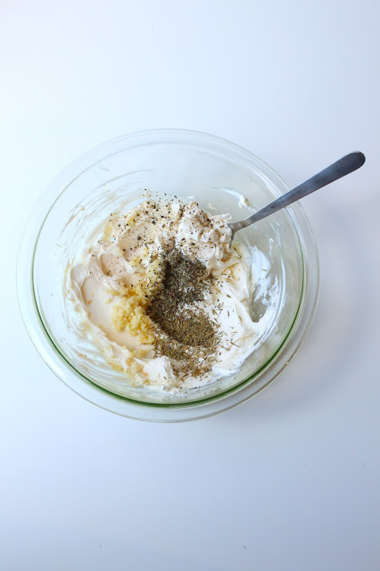 crostini cream cheese mixture in a bowl