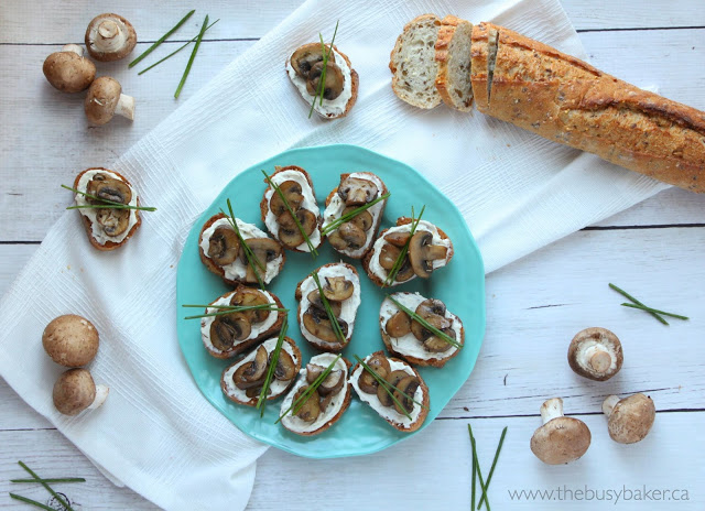 round blue plate with homemade crostini with fresh mushrooms