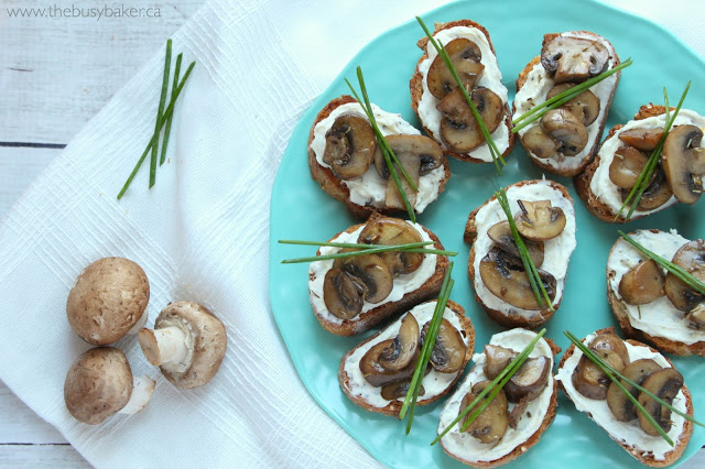 homemade crostini appetizers with fresh mushrooms