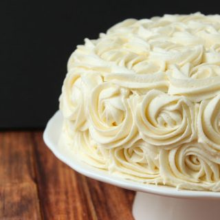 vanilla bean birthday cake with buttercream roses