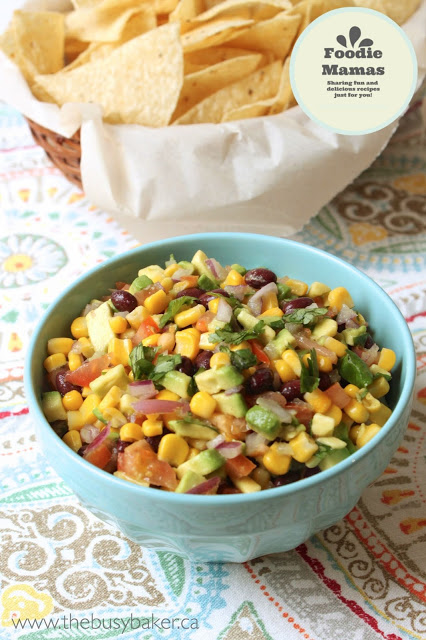 blue bowl filled with homemade black bean salsa