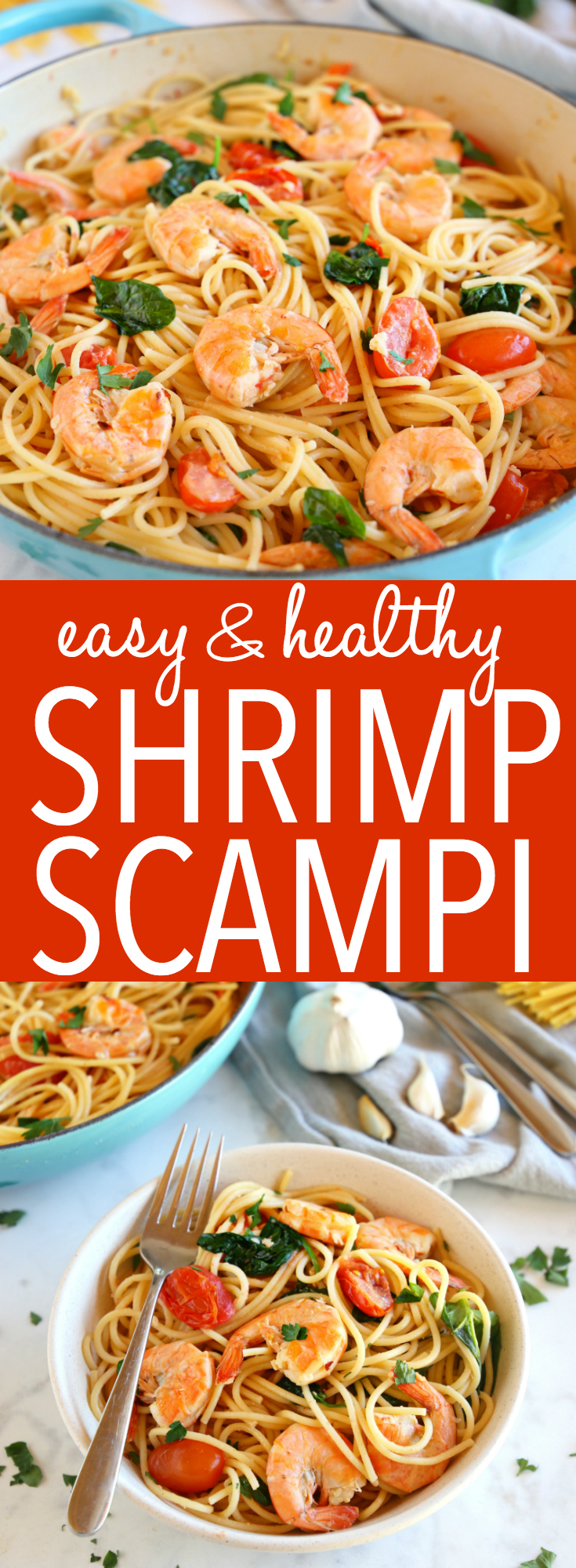 This Easy Healthy Shrimp Scampi is a delicious and healthy weeknight meat featuring fresh shrimp, pasta and veggies in a light-tasting garlic cream sauce! Recipe from thebusybaker.ca! #shrimpscampi #easyshrimppasta #healthyshrimppasta #healthyshrimpscampi via @busybakerblog