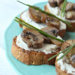 homemade crostini recipe with fresh mushrooms, herbs and garlic