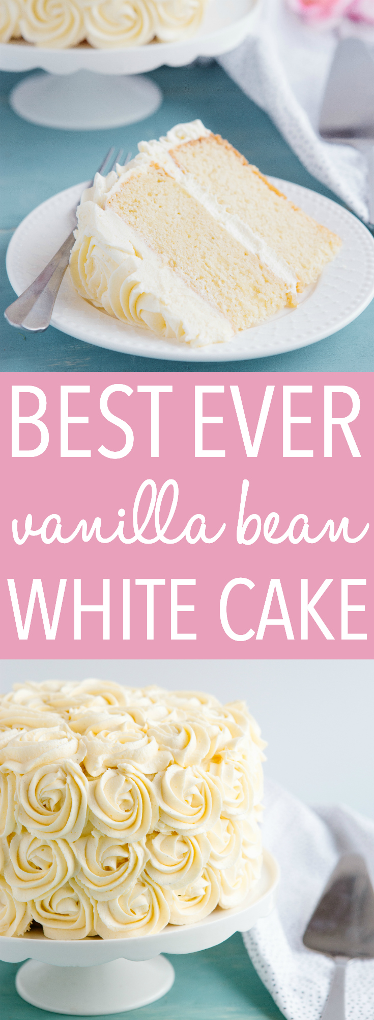 This Best Ever Vanilla Bean White Cake is one of the best birthday cake recipes I've ever made. Tender vanilla cake with fluffy frosting, made with real vanilla beans! Recipe from thebusybaker.ca! #cake #birthday #vanilla #white #whitecake #wedding #bridesmaid #bridalshower #babyshower #rosette #roses #recipe #homemade via @busybakerblog