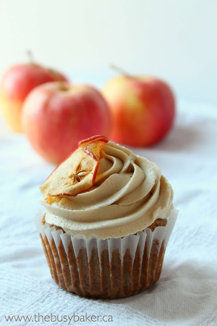caramel apple cupcake topped with caramel buttercream frosting