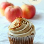 homemade apple caramel cupcakes topped with baked apple chips