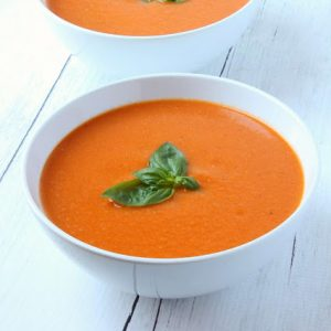 2 bowls of homemade tomato soup from scratch