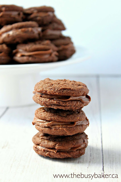 stack of homemade chocolate peanut butter sandwich cookies